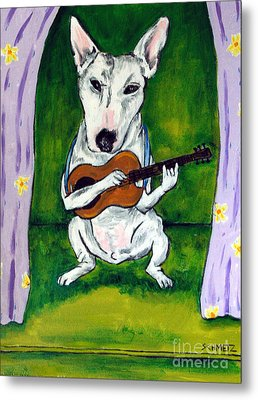 Bull Terrier Playing Guitar Metal Print by Jay  Schmetz