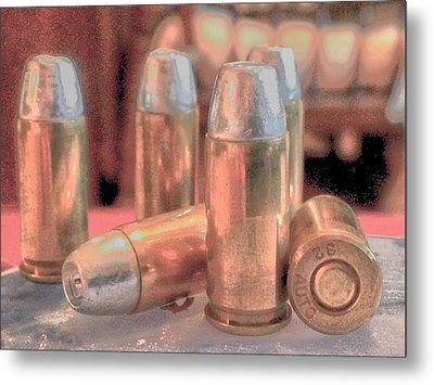 Bullet Art Hollow Point Soft Gold Metal Print by Lesa Fine