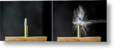 Bullet Hits Cartridge Metal Print