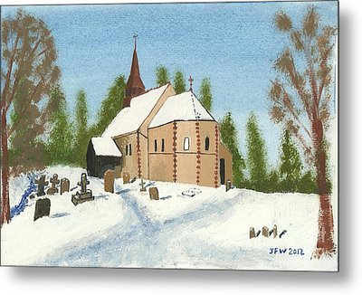 Metal Print featuring the painting Bulley Church by John Williams