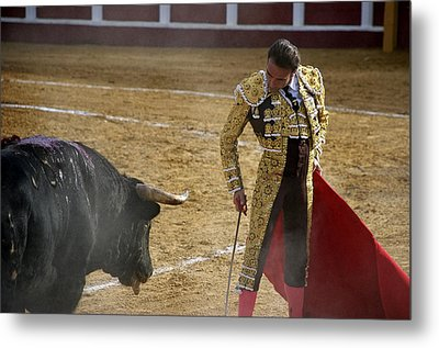 Bullfighter Manuel Ponce Performing During A Corrida In The Bullring Metal Print by Perry Van Munster