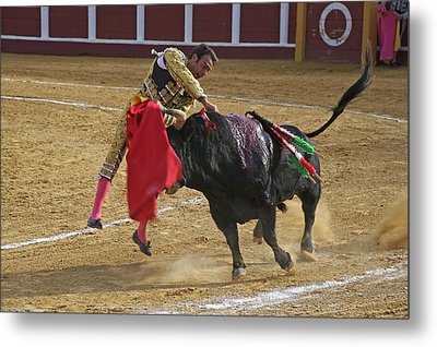 Bullfighter Manuel Ponce Performing The Estocada To Kill The Bull Metal Print by Perry Van Munster