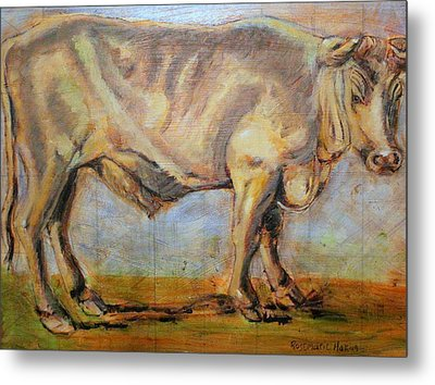 Metal Print featuring the painting Bullock by Rosemarie Hakim