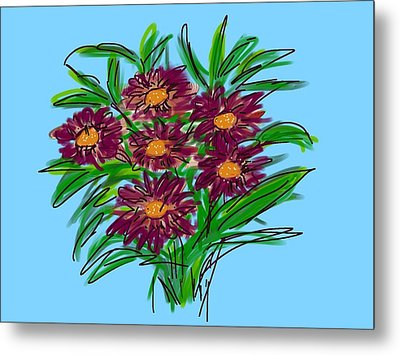 Metal Print featuring the digital art Bunch Of Daisies by Christine Fournier