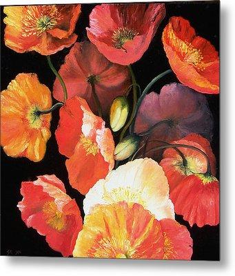 Bunch Of Poppies Metal Print by Jan Matson