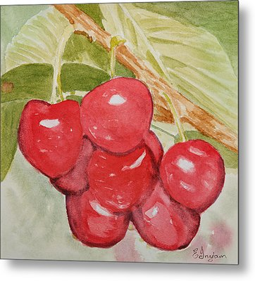 Bunch Of Red Cherries Metal Print