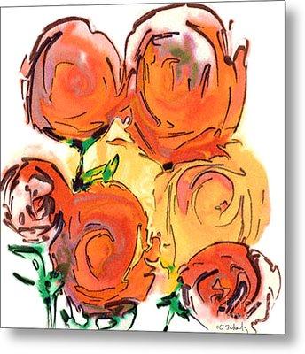 Metal Print featuring the digital art Bunch Of Roses by Gabrielle Schertz
