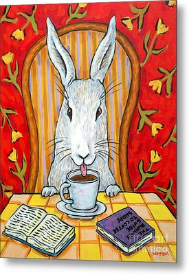 Bunny At The Cafe Metal Print by Jay  Schmetz