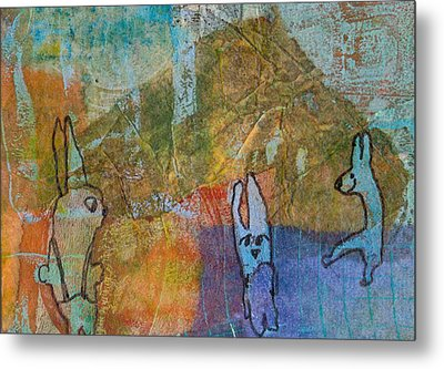 Metal Print featuring the mixed media Bunny Ballet by Catherine Redmayne