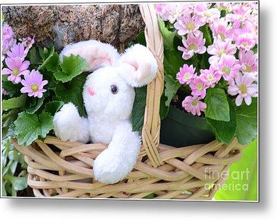 Bunny In A Basket Metal Print by Kathleen Struckle