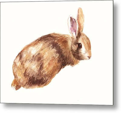 Bunny Print - Coffee And Cream Metal Print by Alison Fennell