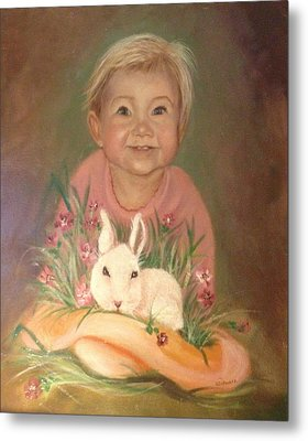 Metal Print featuring the painting Bunny Rabbit by Sharon Schultz