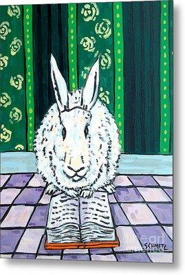 Bunny Reading Metal Print by Jay  Schmetz