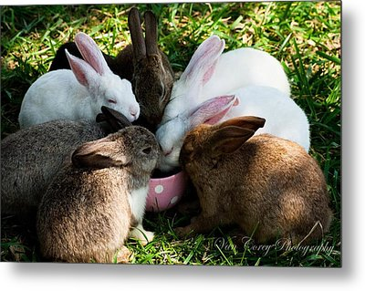 Bunny Tea Party Metal Print