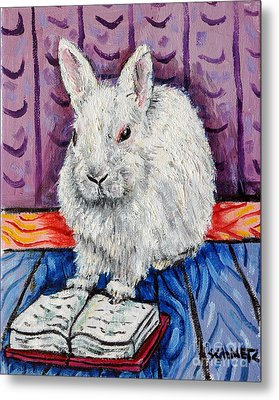 Bunny White Rabbit Reading A Book Metal Print by Jay  Schmetz