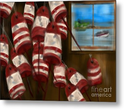Buoys With A View      Metal Print by Christine Fournier