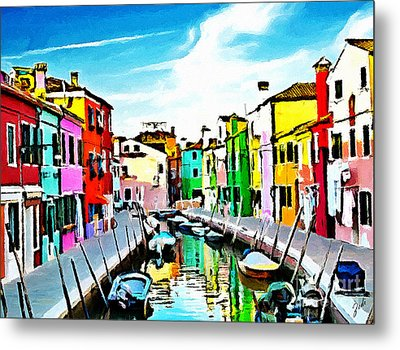 Metal Print featuring the painting Burano - Venice - Italy by Ze  Di