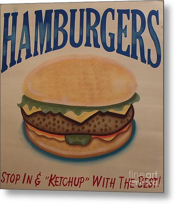 Burger And Bun Metal Print