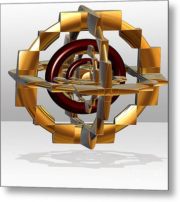 Metal Print featuring the digital art Burgundy And Gold by Melissa Messick