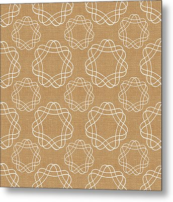 Burlap And White Geometric Flowers Metal Print by Linda Woods