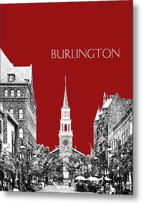 Burlington Vermont Skyline - Dk Red Metal Print