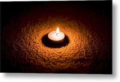Burning Candle Metal Print by Aged Pixel