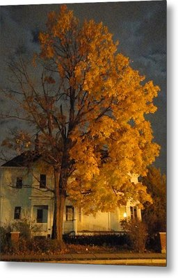 Burning Leaves At Night Metal Print by Guy Ricketts