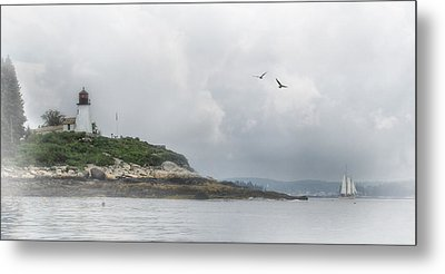 Burnt Island Light Metal Print by Lori Deiter