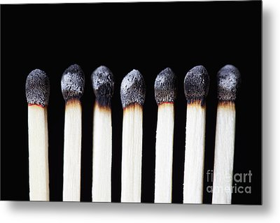 Burnt Matches On Black Metal Print