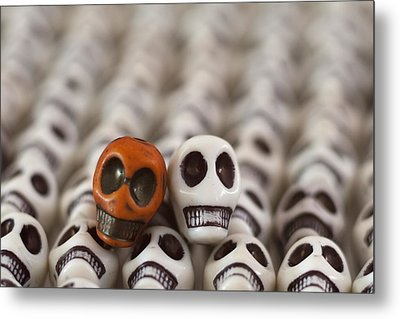 Burnt Orange And White Metal Print by Mike Herdering