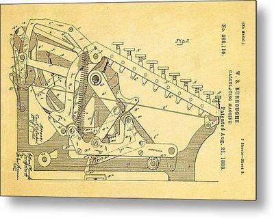 Burroughs Calculating Machine Patent Art 2 1888 Metal Print