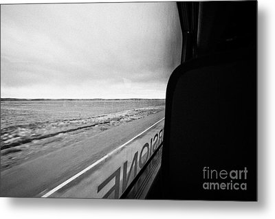 bus ride through flat lands of Tierra Del Fuego island Chile between punta arenas and ushuaia Metal Print by Joe Fox