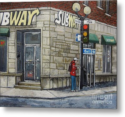 Bus Stop On Monk Metal Print by Reb Frost