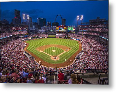 Busch Stadium St. Louis Cardinals Night Game Metal Print by David Haskett