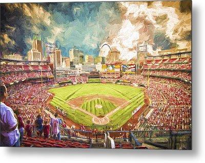 Busch Stadium St. Louis Cardinals Day Paint Metal Print by David Haskett