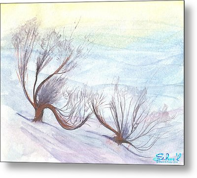 Metal Print featuring the painting Dancing In The Snow by Sherril Porter