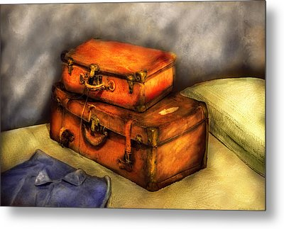 Business Man - Packed Suitcases Metal Print by Mike Savad