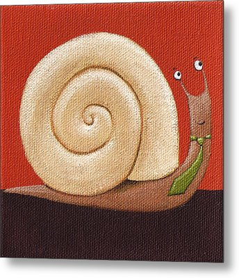 Business Snail Painting Metal Print by Christy Beckwith