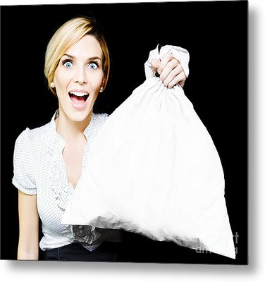 Business Woman Bagging A Bargain With Copyspace Metal Print by Jorgo Photography - Wall Art Gallery