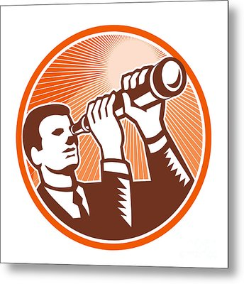 Businessman Holding Looking Telescope Woodcut Metal Print by Aloysius Patrimonio