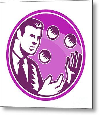 Businessman Juggler Juggling Balls Retro Metal Print by Aloysius Patrimonio