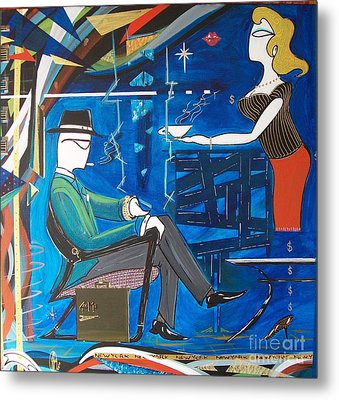Businessman Sitting In Chair Metal Print by John Lyes