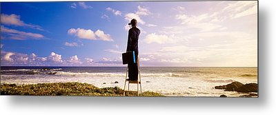 Businessman Standing On A Ladder And Metal Print by Panoramic Images