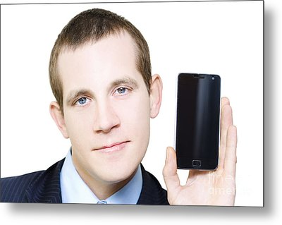 Businessman With Blank Screen Smartphone In Hand Metal Print by Jorgo Photography - Wall Art Gallery
