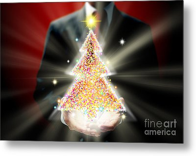 Businessman With Christmas Metal Print by Atiketta Sangasaeng