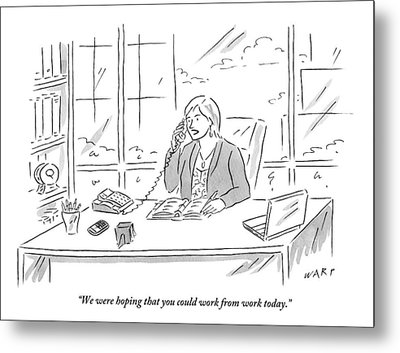 Businesswoman At Her Desk On The Telephone Metal Print