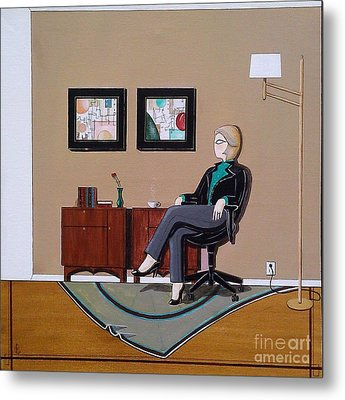 Businesswoman Sitting In Chair Metal Print by John Lyes