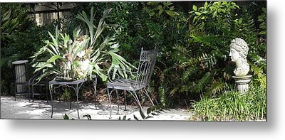 Bust In A Garden With Staghorn Fern Metal Print by Patricia Greer