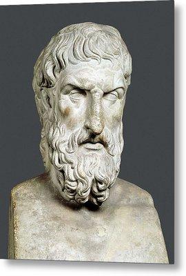 Bust Of Epicurus. 1st Half 4th Bc Metal Print
