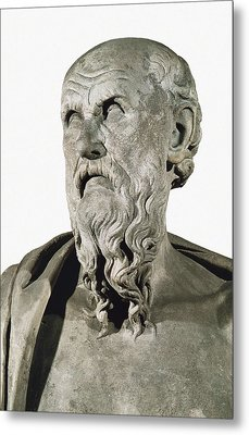 Bust Of Hesiod. 8th C. Ad. Greek Art Metal Print